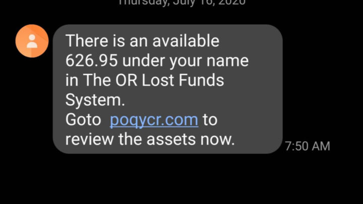 Unclaimed property text messages scam people out of personal information